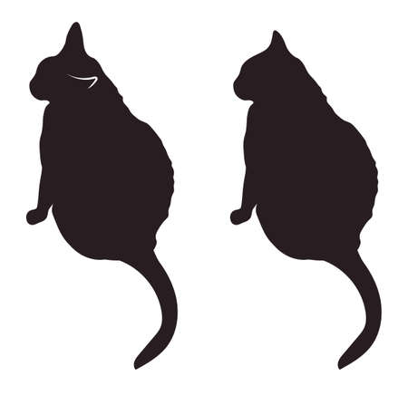 delineation: Black cat silhouettes illustration Stock Photo