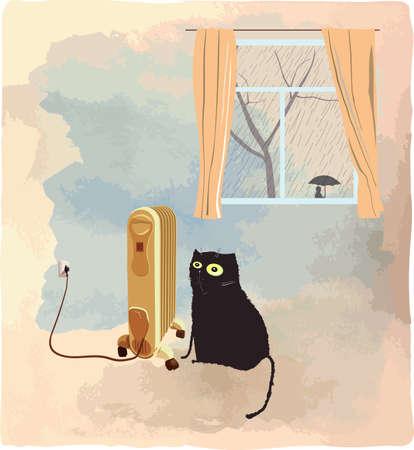 Black cat basking near the heater. Its raining behind a window. Illustration.