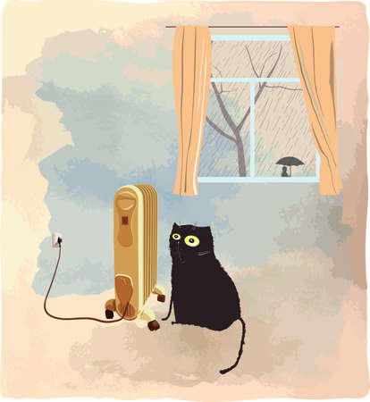 bleak: Black cat basking near the heater. Its raining behind a window. Illustration.