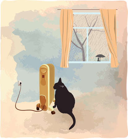 Black cat basking near the heater. Its raining behind a window. Vector illustration Illustration
