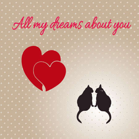 turn away: Card with hearts and cats for Valentines day. Illustration. Stock Photo