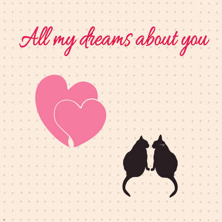 allocate: Card with hearts and cats for Valentines day. Illustration. Stock Photo