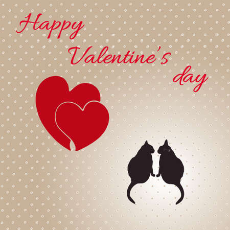 allocate: Card with hearts and cats for Valentines day. Vector illustration. EPS 8.