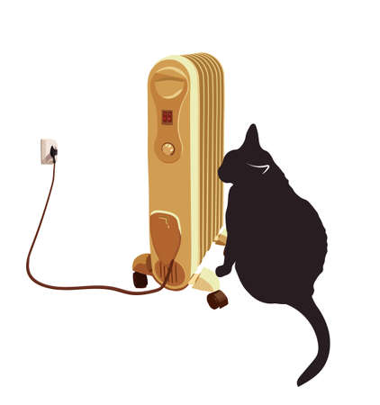 cold room: Black cat basking near the heater. Illustration
