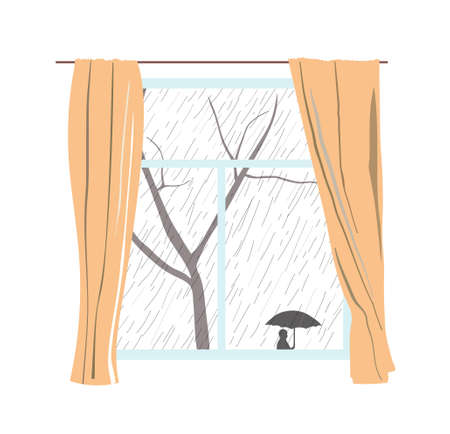 rueful: Window with curtains. Rainy cloudy day. Passers hide under umbrellas. Vector illustration. EPS 8.
