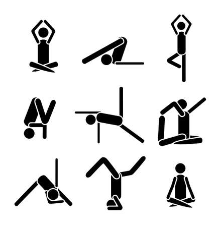 sports programme: Icons yoga asana pose isolated on white background. Illustration. Stock Photo