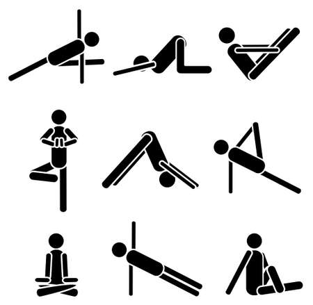 sports programme: Icons yoga asana pose isolated on white background. Vector illustration. Eps 8 Illustration