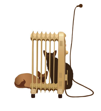 Two cats basking near the heater isolated. Illustration