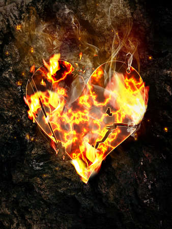 Burning crumbling heart on the rock background.