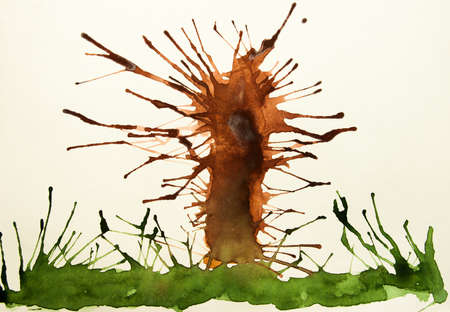 limbs: Tree and grass on a white background. A watercolor drawing.