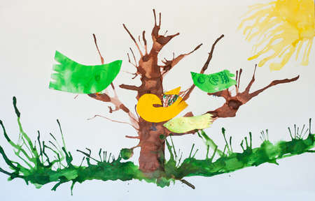 Birds sitting on the branches of the tree. Painting.