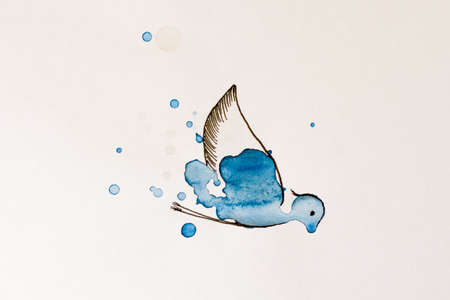 Bird painted watercolor on white background. Illustration.
