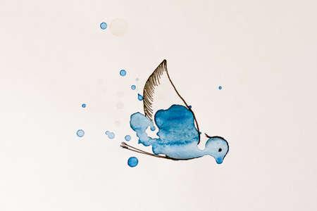 impulse: Bird painted watercolor on white background. Illustration.