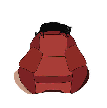 Cartoon cat stretched out on the back of chair and sleeping. Eps 8. Vector illustration. Illustration