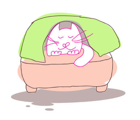A white cat sleeps sweetly under a blanket on an easy chair. Vector illustration. Cartoon character. Graphics.