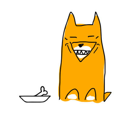 A red dog similar to a Fox, similar to a dog of the Akita-inu breed. The dog is happy and smiles, showing his teeth. The dog is going to eat. There is a bone in the bowl. Cartoon vector illustration on a white background.