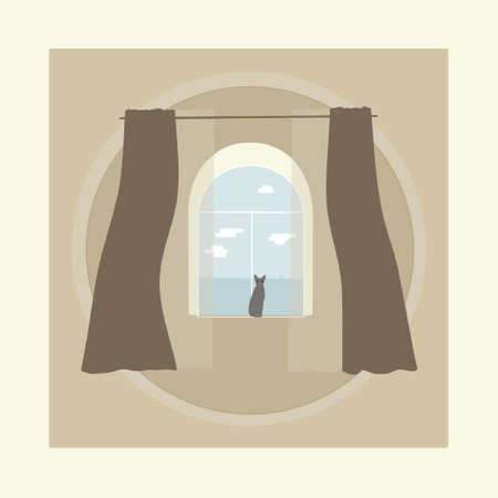 The cat is sitting on a semicircular arched window. Curtains and tulle hang over the Windows. Outside the window, you can see the roofs of neighboring buildings and clouds. Vector illustration. Sketch
