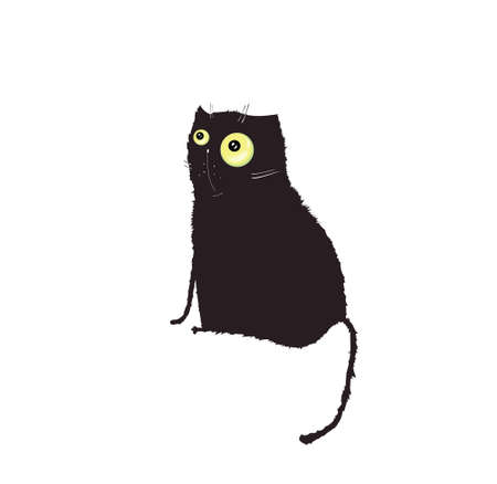 A black fat curly cat looks away, isolated on a white background. Illustration Illustration