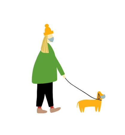A girl walks with a dog in medical masks. Dog on a leash. Vector illustration isolated on a white background.