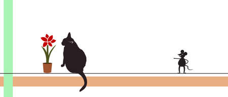 The black cat is enjoying the scent of the Amaryllis flower, and the mouse is laughing at the cat. Vector illustration isolated on a white background.