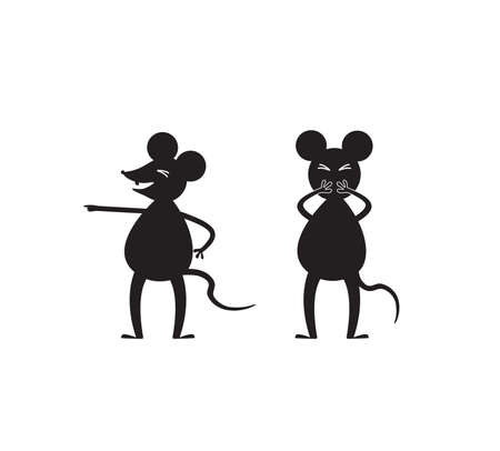 Two black and white mice are laughing and pointing fingers. Vector illustration on a white background.