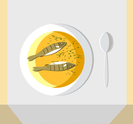 Fish soup with two fish, with dill and onions, is called fish soup. A bowl of soup and a spoon are placed on the tablecloth on the table. The view from the top. Vector illustration. Flat. I can draw a menu for your restaurant or cafe. Write me to venecia2@rambler.ru