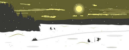 Panorama of the winter landscape with a view of the frozen snow-covered lake. On the lake, fishermen catch fish, a man rides a snowmobile, leaving traces. Winter fishing. Vector illustration.