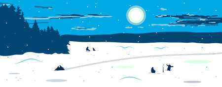 Panorama of the winter landscape with a view of the frozen snow-covered lake. Fishermen catch fish on the lake. You can see the silhouette of a man riding a snowmobile, leaving footprints. Winter fishing. Vector illustration. The snow is located on a separate layer.