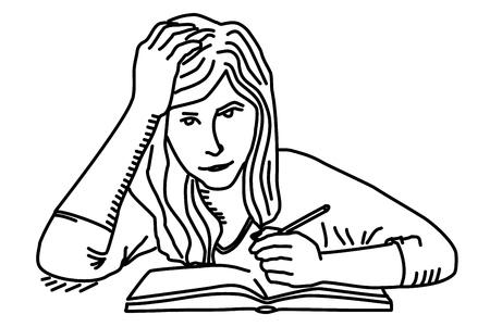 Student girl preparing homework Vectores