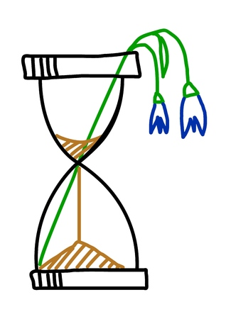 Wilted plant in the hourglass. Doodle Vector