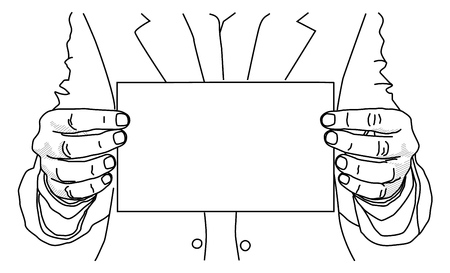 Hands hold a blank sheet for inscription. Line drawing Ilustrace