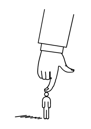 The hand presses by the finger figure of a man. Concept. Vector illustration