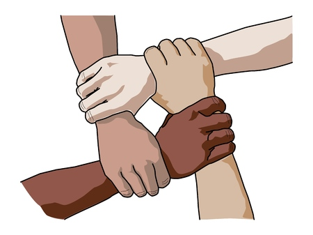 Four diverse men holding each others wrists in a circle. Top view.