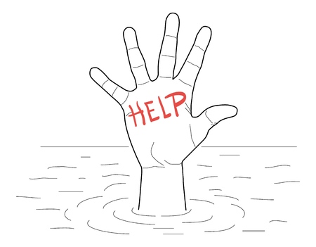 Single hand of drowning man in sea asking for help. Vector