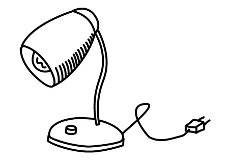 Lamp on the table. Vector illustration