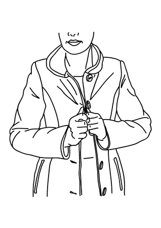Girl puts a coat on. Line
