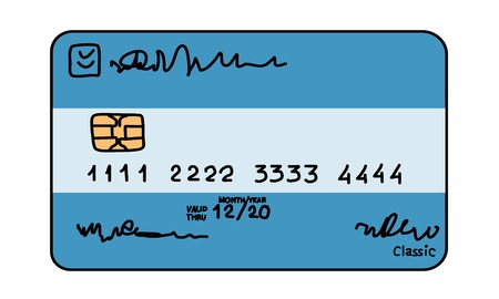 Simple credit card. Colored sketch on white background