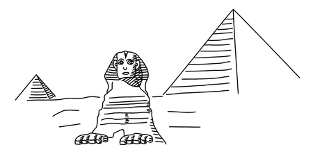 The Sphinx at Giza and pyramid. Vector line drawing
