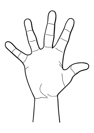 Hand in monochrome style isolated on white background. Part of body symbol stock vector illustration.