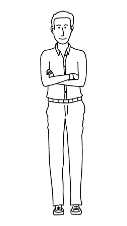 Standing man. Vector line drawing
