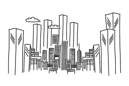 Cartoon hand drawing city. Vector on white background. Reklamní fotografie