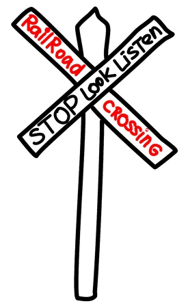 Railroad Traffic Sign. Vector line drawing on white background