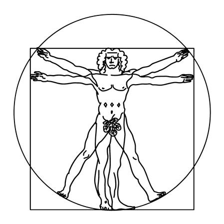 The Vitruvian man. Vector Vector Illustration