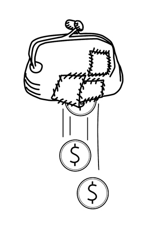 Money falling through hole in torn purse. Bad budget management, overspending, costs, expenses, losses, poverty concept. EPS 10 vector illustration