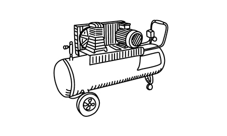 Air Compressor drawing. Line Vector illustration