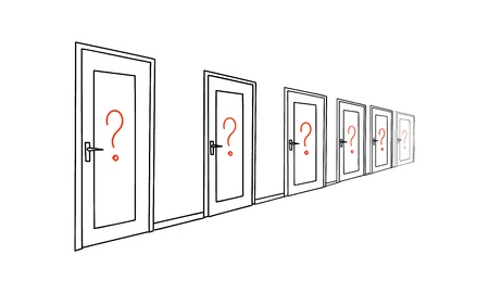 Red question marks on the door. Vector illustration