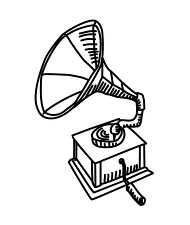 Grammophon-Zeichnung. Vektorliniendarstellung Vektorgrafik
