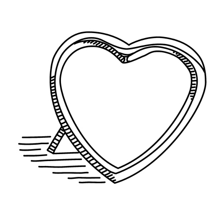 Photo frame in the form of a heart on a white background Ilustrace