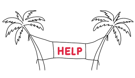 Ask for help concept. Vector Line