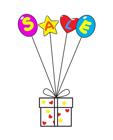 Word Sale on balloons that hold a gift box